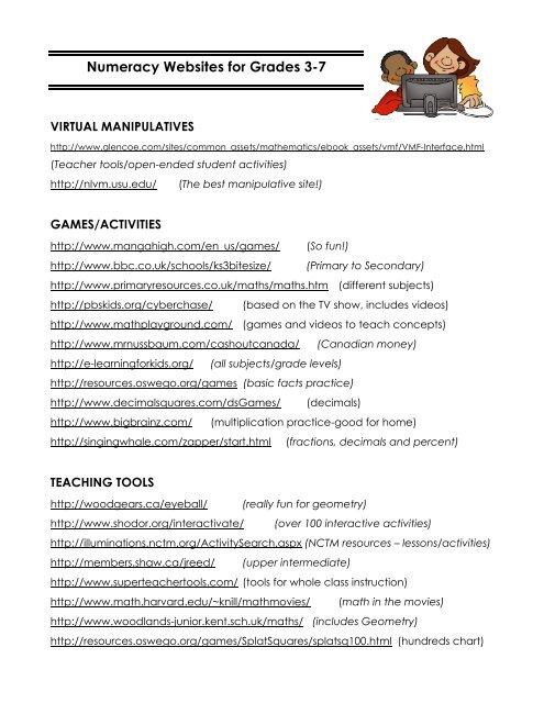 Numeracy Websites -gr  3-7 pdf - School District #35