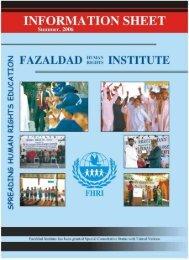 Information Sheet Summer 2006 - Fazaldad Human Rights Institute