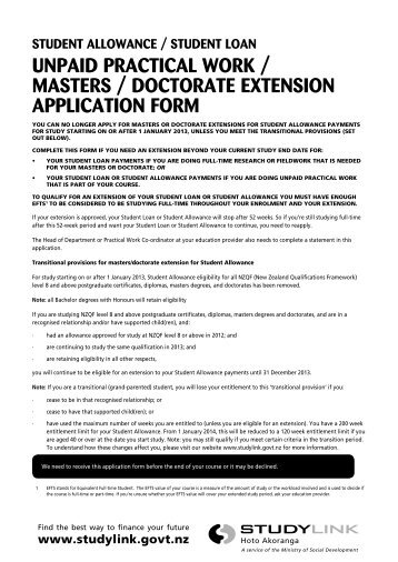 unpaid practical work / masters / doctorate extension ... - StudyLink