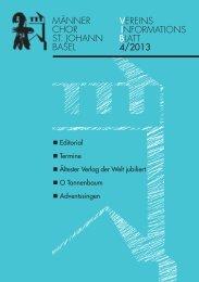 Ausgabe 4/2013 - Männerchor St. Johann Basel