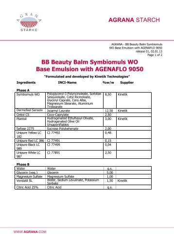 BB Beauty Balm Symbiomuls WO Base Emulsion with ... - Agrana