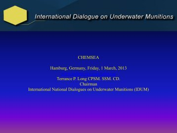 Global perspective on underwater munitions - Chemsea