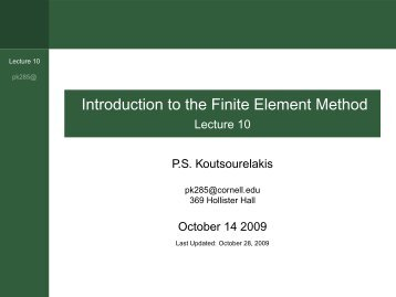 Introduction to the Finite Element Method - Lecture 10