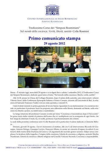 Simposi: 13° Corso Comunicati Stampa - Centro Internazionale di ...