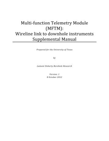 Multi‐function Telemetry Module (MFTM): Wireline link to downhole ...