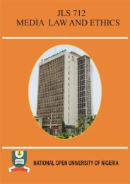 Media Law and Ethics - National Open University of Nigeria