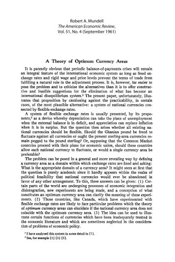 A Theory of Optimum Currency Areas - Free