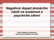 Negativní dopad domácího násilí na osobnost a psychické zdraví ...