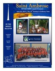 June 30, 2013 – 13th Sunday of Ordinary Time - Saint Ambrose Parish
