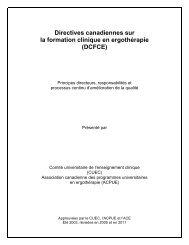 Directives canadiennes sur la formation clinique en ergothérapie
