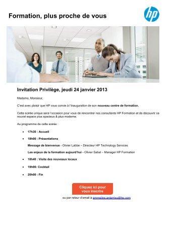HP Formation, plus proche de vous Invitation Privilège, jeudi 24 ...