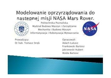 Modelowanie oprzyrz¹dowania do następnej misji NASA Mars Rover