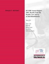 HCSDB Annual Report 2003: Results from the Health Care Survey ...