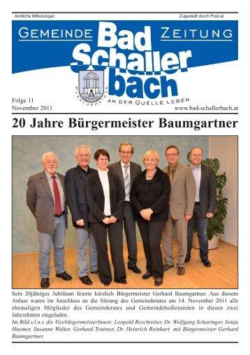 20 Jahre Bürgermeister Baumgartner - Gemeinde Bad Schallerbach