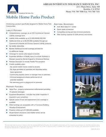Mobile Home Parks Product