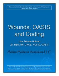 Wounds, OASIS and Coding - Home Care Information Network