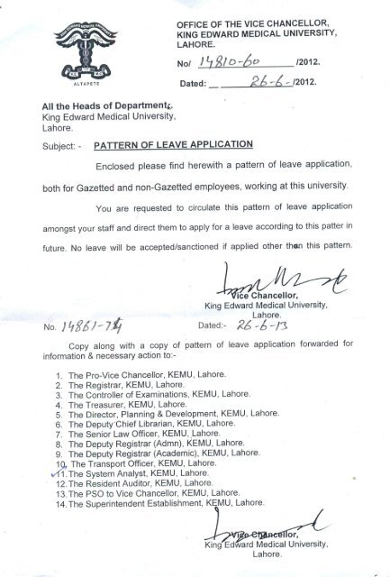 Leave Application For KEMU Staff - King Edward Medical