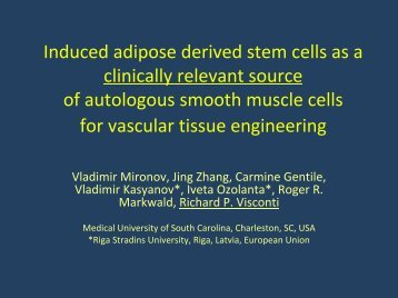 Induced adipose derived stem cells as a ... - SC EPSCoR/IDeA