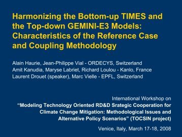 Harmonizing the Bottom-up TIMES and the Top-down GEMINI-E3 ...