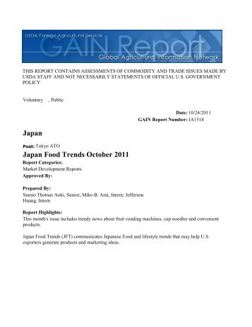 Japan Food Trends October 2011 Japan