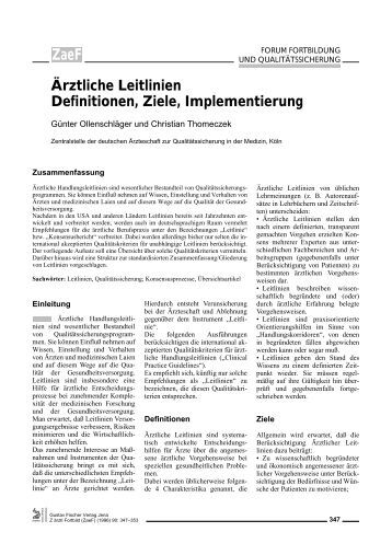 Ärztliche Leitlinien Definitionen, Ziele ... - ResearchGate