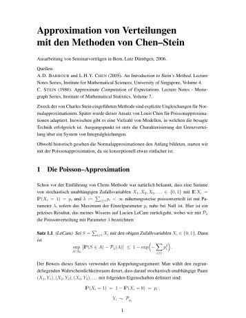Approximation von Verteilungen mit den Methoden von Chen–Stein