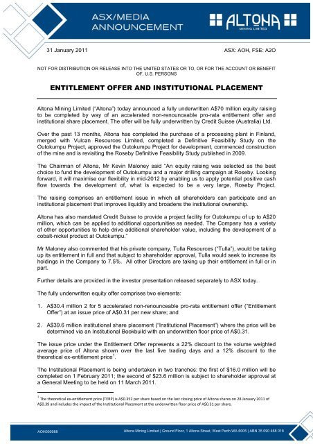 Entitlement Offer and Institutional Placement.pdf - Altona Mining