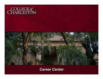 Get A Job! - Orientation - College of Charleston