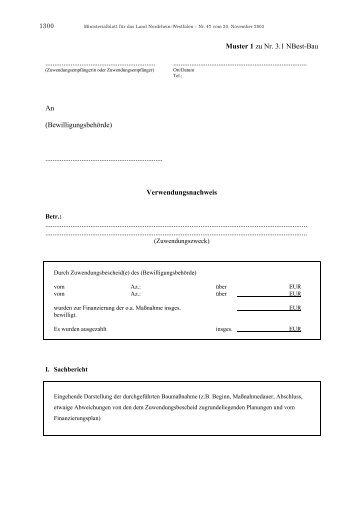 Muster 1 zu Nr. 3.1 NBest-Bau - Verwendungsnachweis - Ziel2.NRW