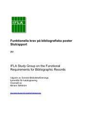 Funktionella krav på bibliografiska poster Slutrapport - IFLA