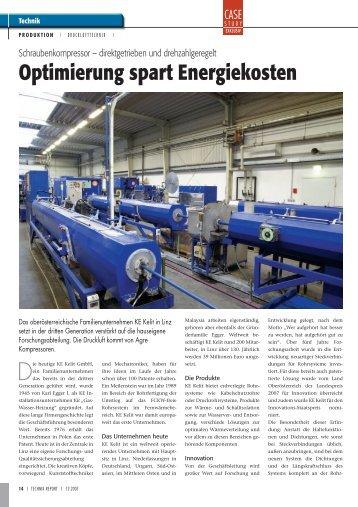 Optimierung spart Energiekosten - AGRE Kompressoren