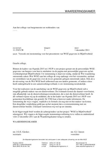 Brief gezonden aan alle gemeenten met het verzoek om in te ...