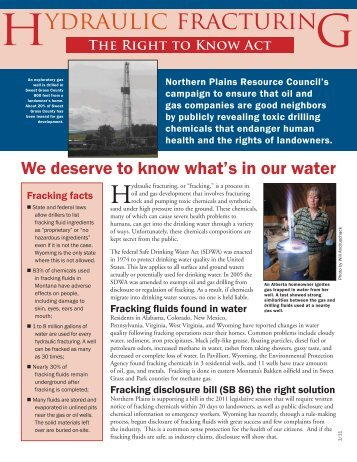 Hydraulic fracturing - Northern Plains Resource Council