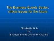 The Business Events Sector - Tourism Futures
