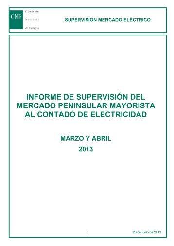 informe de supervisión del mercado peninsular mayorista al ...