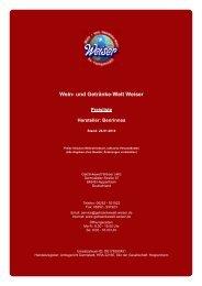 Preisliste für Hersteller: Benrinnes - und Getränke-Welt Weiser