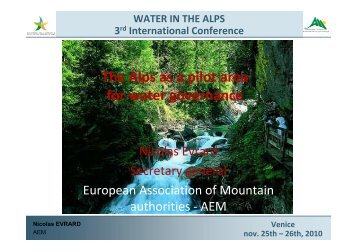 The Alps as a pilot area for water governance - 3rd Alpine Water ...