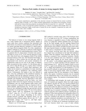 Hartree-Fock studies of atoms in strong magnetic ... - ResearchGate