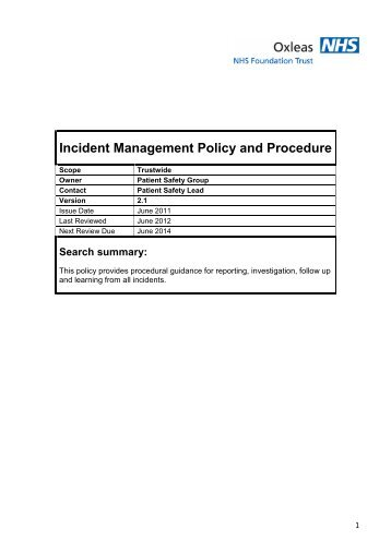 incident reporting policy - Rotherham Doncaster and South Humber ...