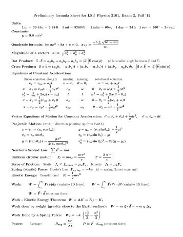 Preliminary formula Sheet for LSU Physics 2101, Exam 2, Fall '12