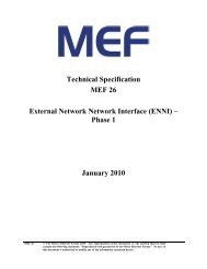 Contribution to the Metro Ethernet Forum Technical Committee - MEF