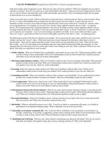 Printables Values Clarification Worksheet values inventory worksheet act mindfully