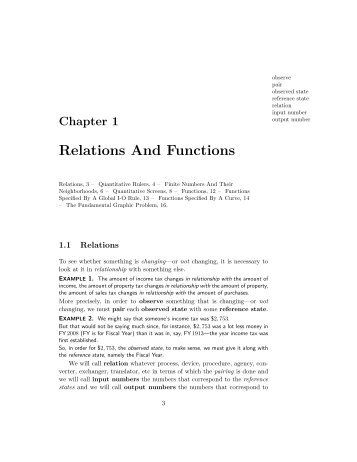 Chapter 1 - Relations And Functions - Free Math Texts