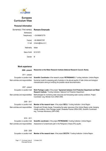 Europass Curriculum Vitae - IRSA - Cnr
