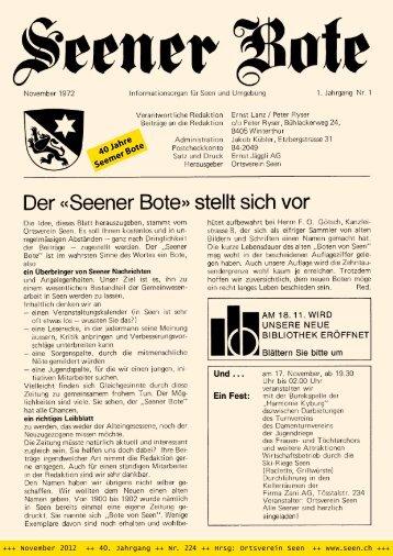 Seemer Bote Nr. 224 vom November 2012 - Der Ortsverein Seen
