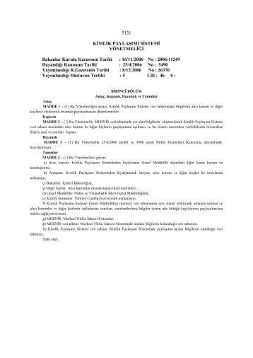 16/11/2006 No : 2006/11249 Dayandığı - Başbakanlık Mevzuat Bilgi ...