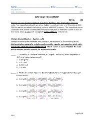 Ch 3 QUIZ - AP Chemistry