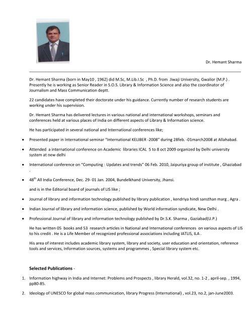 Dr  Hemant Sharma - Jiwaji University