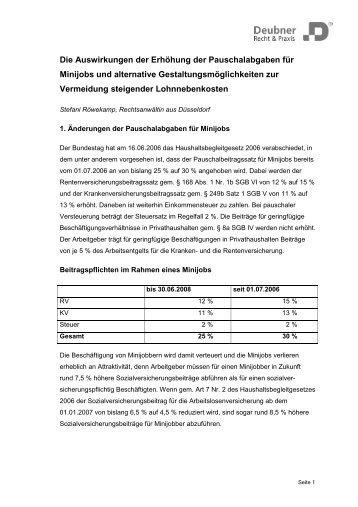 Die Auswirkungen der Erhöhung der Pauschalabgaben für Minijobs ...