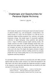 Challenges and Opportunities for Personal Digital Archiving